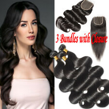 3 Bundles Brazilian Virgin Human Hair Extensions Wefts with Swiss Lace Closure