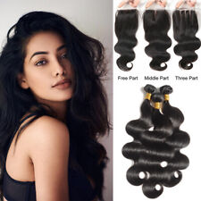 3 Bundles with 4x4 Closure 100% Unprocessed Virgin Human Hair Extensions Weft US