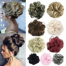 Human Real Natural Curly Messy Bun Hair Piece Hair Extensions Scrunchie Updo