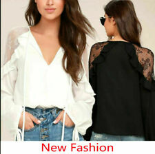 New Women Summer Lace Sexy V Neck Long Sleeve Shirt Blouse Casual Tops T-Shirts