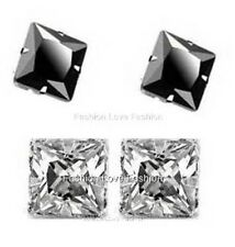 2 PAIRS CZ CLEAR+BLACK SQUARE MAGNETIC Clip-On STUD EARRINGS Men Women