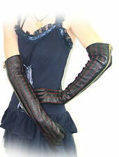 "50cm(19.7"") threaded zipper real leather gloves*black"