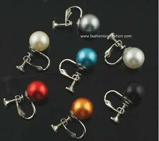 1 Pair Silvertone Clip On,Screw Back Faux Pearl Round Stud Earrings 14 Colors