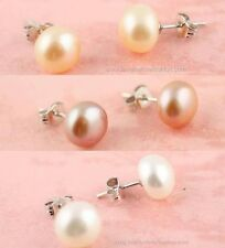 1 Pair Sterling Silver 925 Fresh Water Pearl Pierced Earrings Cream White, Pink