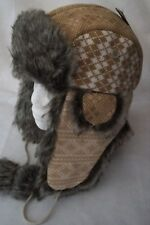 LADIES TRAPPER HAT KNITTED OUTER FAUX FUR WITH POM POMS LILAC BLACK OR BEIGE