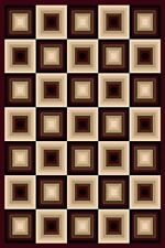 2X4 CARVED SQUARES MODERN GEOMETRIC MAT RUG 6 COLORS