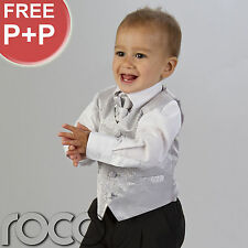 BOYS SILVER 4PC WEDDING PAGE BOY PROM WAISTCOAT SUIT