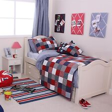 Babyface Boys Bedding Red Blue McKenzie Check Patchwork