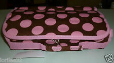 CHOCOLATE BROWN & PINK POLKA DOT COTTON CANVAS HANGING COSMETIC TRAVEL BAG
