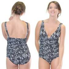 One Piece Bather Swimwear Size 8 10 Women Black White  Rouched
