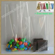 """100pcs 3""""x5"""" clear cello bag for gift candy + twist tie"""