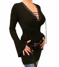 New Black Lace Up Bell Sleeved Top - Size Choice