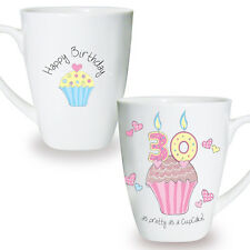 Personalised CUPCAKE China Mug 16th 18th 21st 30th 40th Birthday Gift For Her