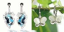 1 PAIR Spring Clip-On Silvertone Blue/White Butterfly Fashion Dangle Earrings