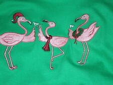 CHRISTMAS 3 FLAMINGOS SHIRT HOLIDAY TOASTING NEW YEARS EVE PARTY 1X, 2X, 3X