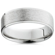 Mens Solid 950 Palladium Brushed Comfort Fit Wedding Ring 6 MM Mans Band 7-12