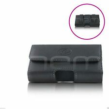 BLACK PREMIUM LEATHER POUCH CASE FOR MOST LG PHONES COVER WITH BELT CLIP LOOP