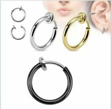"1 Pair Spring ClipOn Hoop Earrings Colors:Silver,Gold,Gray Back,Black ½"" or 5/8"""