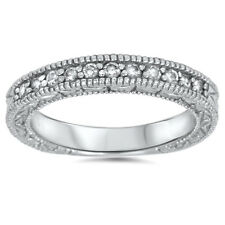 VINTAGE .25CT WOMENS DIAMOND WEDDING RING ANTIQUE ART DECO STACKABLE ENGRAVED