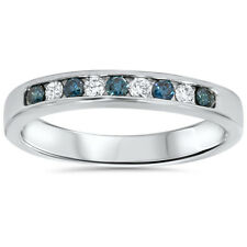 14KT .27CT Blue & White Colored Diamond Ring Solid 14K White Gold Wedding Band