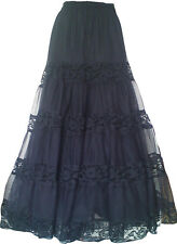 Gothic Long Skirt Plus Size Black Halloween Cocktail Prom Party Custom Made