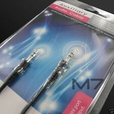 BLACK AUXILIARY CABLE CORD for HTC PHONES - JACK 3.5mm CAR AUDIO MALE AUX WIRE