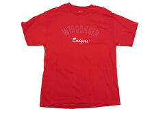 WISCONSIN BADGERS ADULT RED  EMBROIDERED STITCHED T-SHIRT NEW