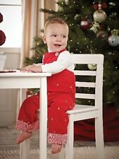Mud Pie Christmas Holiday Embroidered Tree Overalls Boy from 3M to 3T