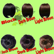 Clip In on Bang FRINGE Pony Tail Scrunch BUN Hair Exts. 4 COLOUR *SAME DAY SHIP*