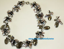 Hand Crafted Fresh Water Kashi Pearl Crystal Glass Beads Necklace Earring Set