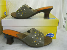 DR SCHOLL LADIES OLIVE LEATHER OPEN TOE SANDALS WITH JEWEL DETAIL - VENTOTENE