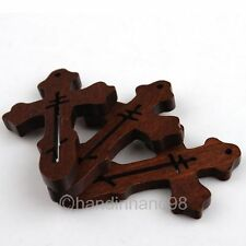 30x Deep Coffee Wooden Latin Cross Beads Charm Pendant Necklace Different Styles