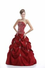 New Red/Crimson Wedding Dress Prom Formal Ball Gown Stock Size 6 8 10 12 14 16