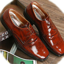 New Handmade Leather Mens Dress Casual Shoes Lace up Oxfords Brown Limited