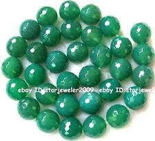 "Green Agate Globose Faceted Gemstone Beads15""  4mm 6mm 8mm 10mm 12mm 14mm 16mm"