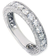 1.75CT Diamond Anniversary Wedding Ring Hand Carved Vintage Style White Gold