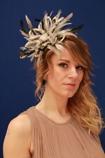 Nude taupe Black Fascinator Wedding Hat Choose any colour satin/feathers (HBC)
