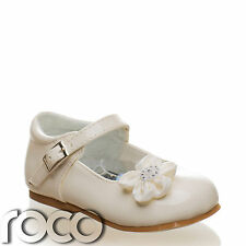 Baby Girls Cream Shoes Christening Wedding Flower Girl Shoes Infant 1 - 6