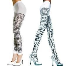 Black and White Gothic Punk Zebra Animal Print Pantyhose Tights