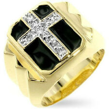Mens Christian Cross Ring 14k Gold Plated with Round Cut Clear CZ Accents