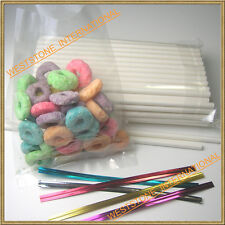"100 (8"" Lollipop Stick + Poly Bag + Twist Tie) for cake pop or lollipop candy"
