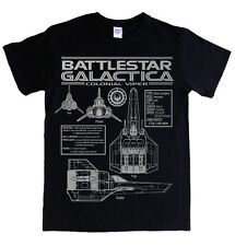 BATTLESTAR GALACTICA  - VIPER blueprints and specs black t-shirt colonials