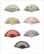 Beautiful Lady's Silk Hand Fan Lace Fan Roses Design in Different Color Cloth