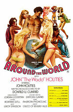 """AROUND THE WORLD WITH JOHN """"The Wadd"""" HOLMES Movie Poster 1975 Sexploitation"""