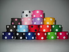 GROSGRAIN RIBBON  5 YARDS OF 7/8 INCH POLKA DOT*CHOOSE FROM 17 COLORS A1V-QP
