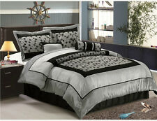 Faux Silk Flocking Comforter Set Bedding-in-a-bag, Silver Gray Queen or King 866