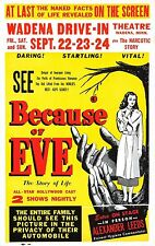 BECAUSE OF EVE Movie Poster 1948 Classic Explotation Film Sex