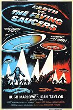EARTH VS. THE FLYING SAUCERS Movie Poster 1956 Sci-Fi Aliens