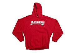 WISCONSIN BADGERS ADULT RED W/WHITE LETTERS EMBROIDERED HOODED SWEATSHIRT NWT