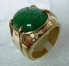 Men's jewelry real Natural green jade Ring Size:8-12